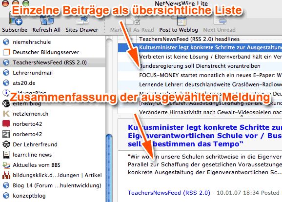 Screenshot des Feedreaders 'NetNewsWire' für Mac OS X