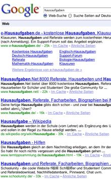 Screenshot: Google-Suchergebnisseite bei der Suche nach 'hausaufgaben' (18.08.2008)
