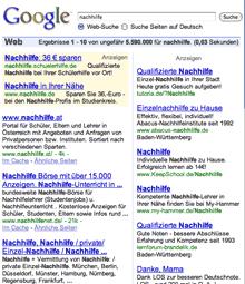 Google-Suche, Stichwort 'Nachhilfe' (Vorschau - Klick aufs Bild zum Vergroessern