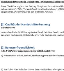 Ausschnitt aus der Checkliste 'Kaufentscheidung interaktives Whiteboard'