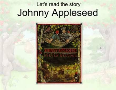 SMARTBoard-Einheit 'Appleseed', Screenshot 1: Cover von Johnny Appleseed als Projektion