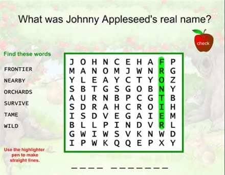 SMARTBoard-Einheit 'Appleseed', Screenshot 6: Wörter suchen in einem Gitter