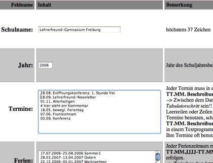 Schuljahreskalender - Maske zur Eingabe der Daten - Screenshot
