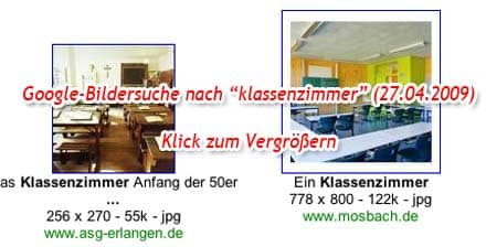 Screenshot: Google-Bildersuche - Ergebnisse zu 'klassenzimmer' (Vorschaubild, Ausschnitt)