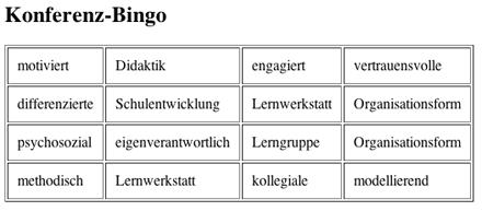 Beispiel: Bogen für ein Konferenzbingo
