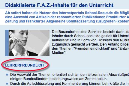 screenshot von lehrer-online.de mit 'lehrerfreundlich'
