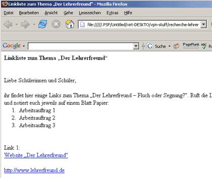 Erstellte Datei als Webseite betrachten