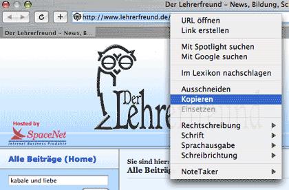 Zieladresse im Internet aus der Adresszeile des Browsers kopieren