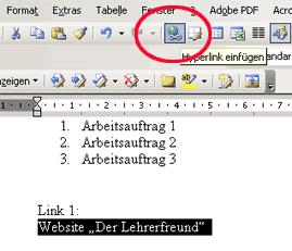 Hyperlink einfügen, Variante 2: über Symbolleistenbutton