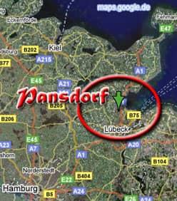 Ausschnitt der Deutschlandkarte mit markiertem Pansdorf