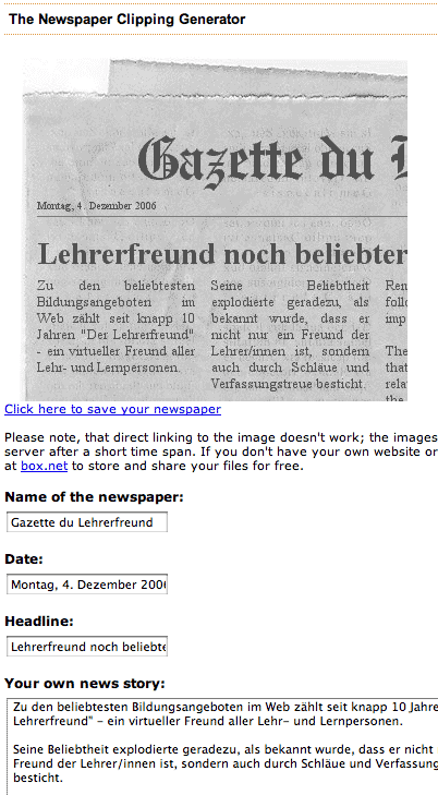 Screenshot des Zeitungsartikelgenerators