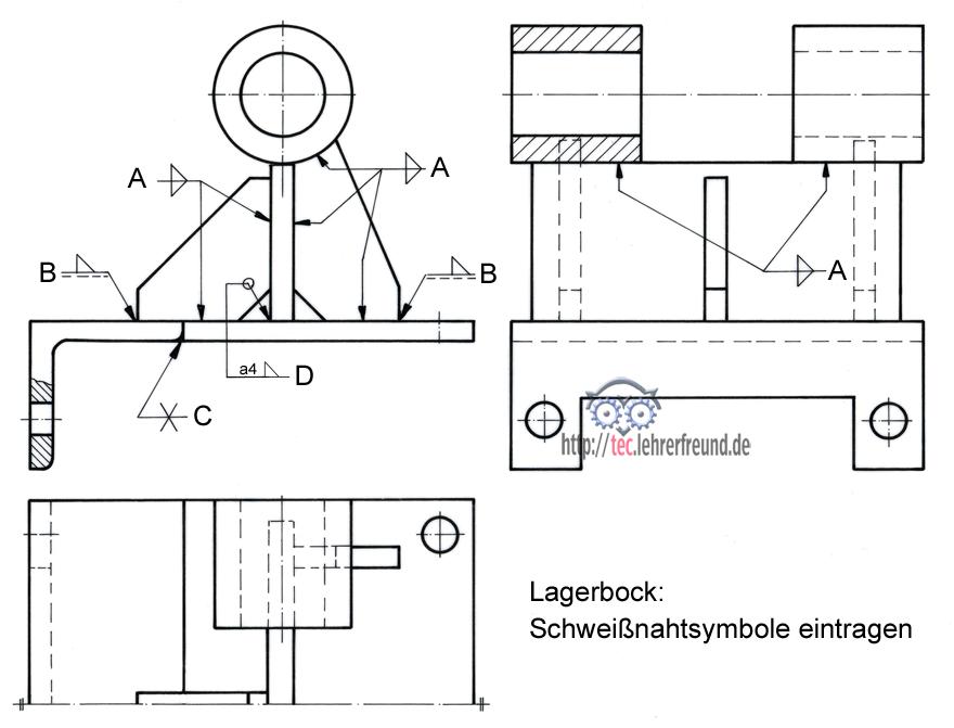 lagerbock_mit_schweisssymbolen - Schweisnahtberechnung Beispiel