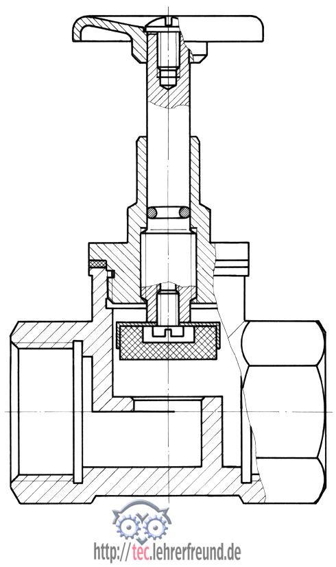 Zeichnung eines Hahns (Durchgangsventil)