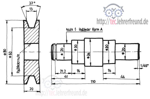 riementrieb gesamtzeichnung tec lehrerfreund. Black Bedroom Furniture Sets. Home Design Ideas