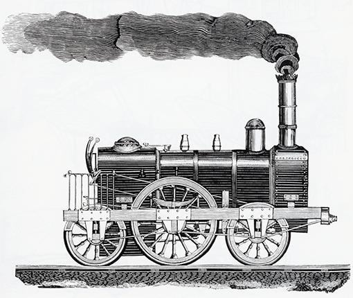 Bild einer alten Dampflokomotive