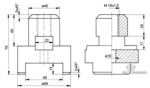 zeichen bung bauteile in drei ansichten 2 tec lehrerfreund. Black Bedroom Furniture Sets. Home Design Ideas