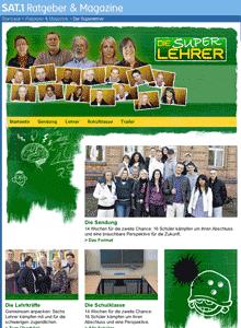 Screenshot: SAT1-Webseite zu 'Die Superlehrer'