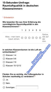 Screenshot: Formular der Umfrage zum Lüften und zur Raumluftqualität