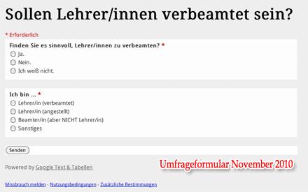 Formular der Umfrage 'Sollen Lehrer Beamte sein?' (Screenshot)