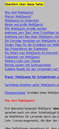 Webquest-Seite von Gerhard Wellmann, Ausschnitt