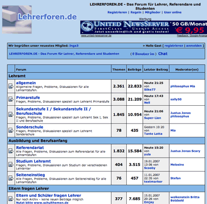 screenshot: lehrerforen.de