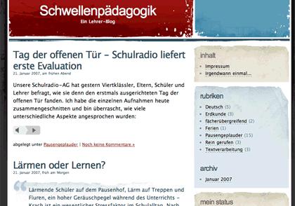 screenshot: Schwellenpädagogik