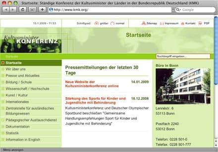 Neuer Webauftritt der Kultusministerkonferenz kmk.org (2009), Vorschau